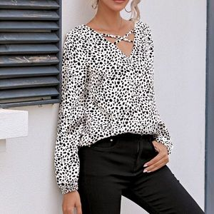 NWOT White and Black Top - M
